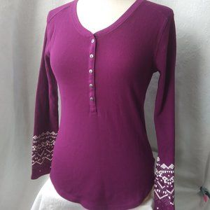 Eddie Bauer | PlumBerry Decorated Thermal Weave Long Sleeve Top | M